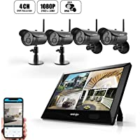 4-Pieces UNIOJO 1080P NVR Wireless WiFi Security Camera System with 10.1 inches LCD Touch Screen Monitor