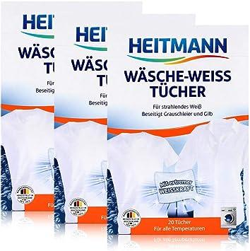 Heitmann Ropa de blanco paños 20, 3 Pack (3 x 20 unidades): Amazon ...