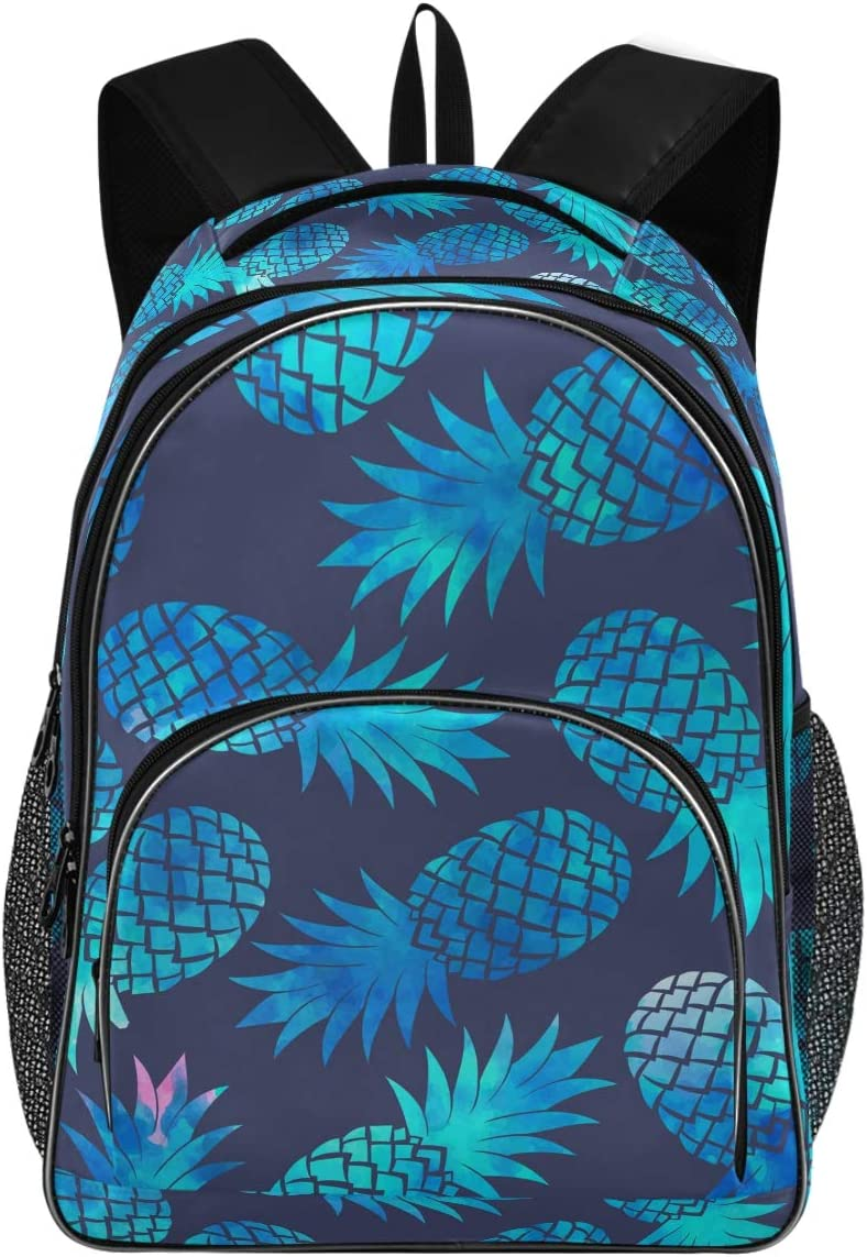 College School Laptop Backpack 15.6 Inch - Pineapple Waterproof Students Bookbags with USB Charging Port for Women Girls