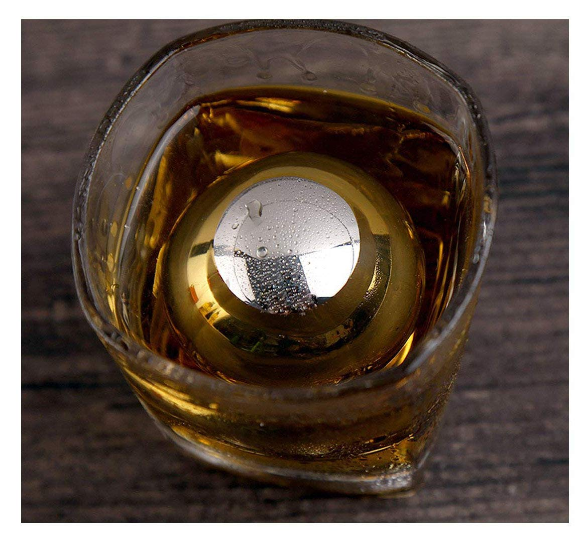 Whiteswallow Reusable Stainless Steel Ice Cube Metal Whiskey Stones Ball for Drinks