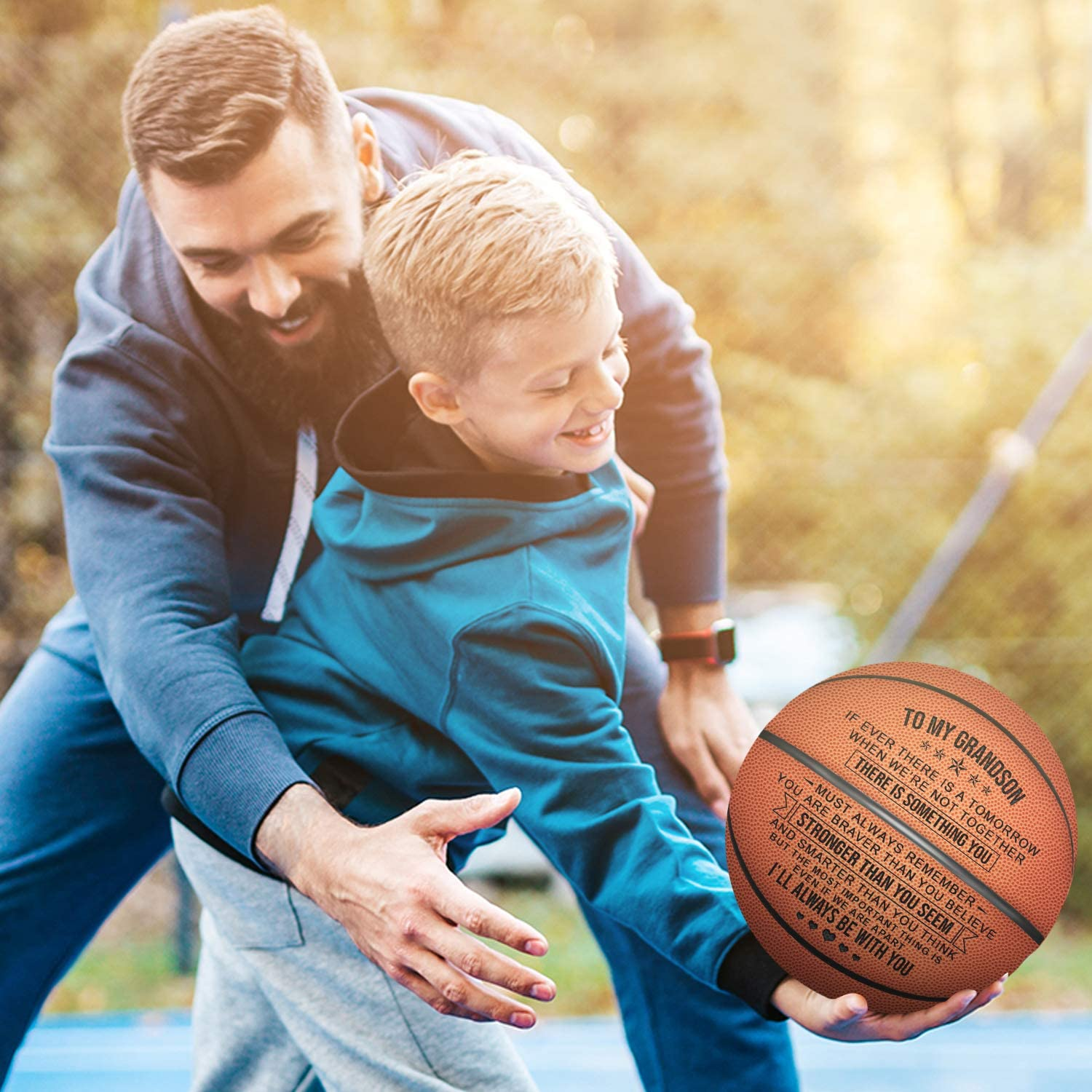KWOOD Customized Basketballs for Men,Personalized Indoor//Outdoor Game Leather Basketball,Engraved Best Gift for Son from Mom Dad