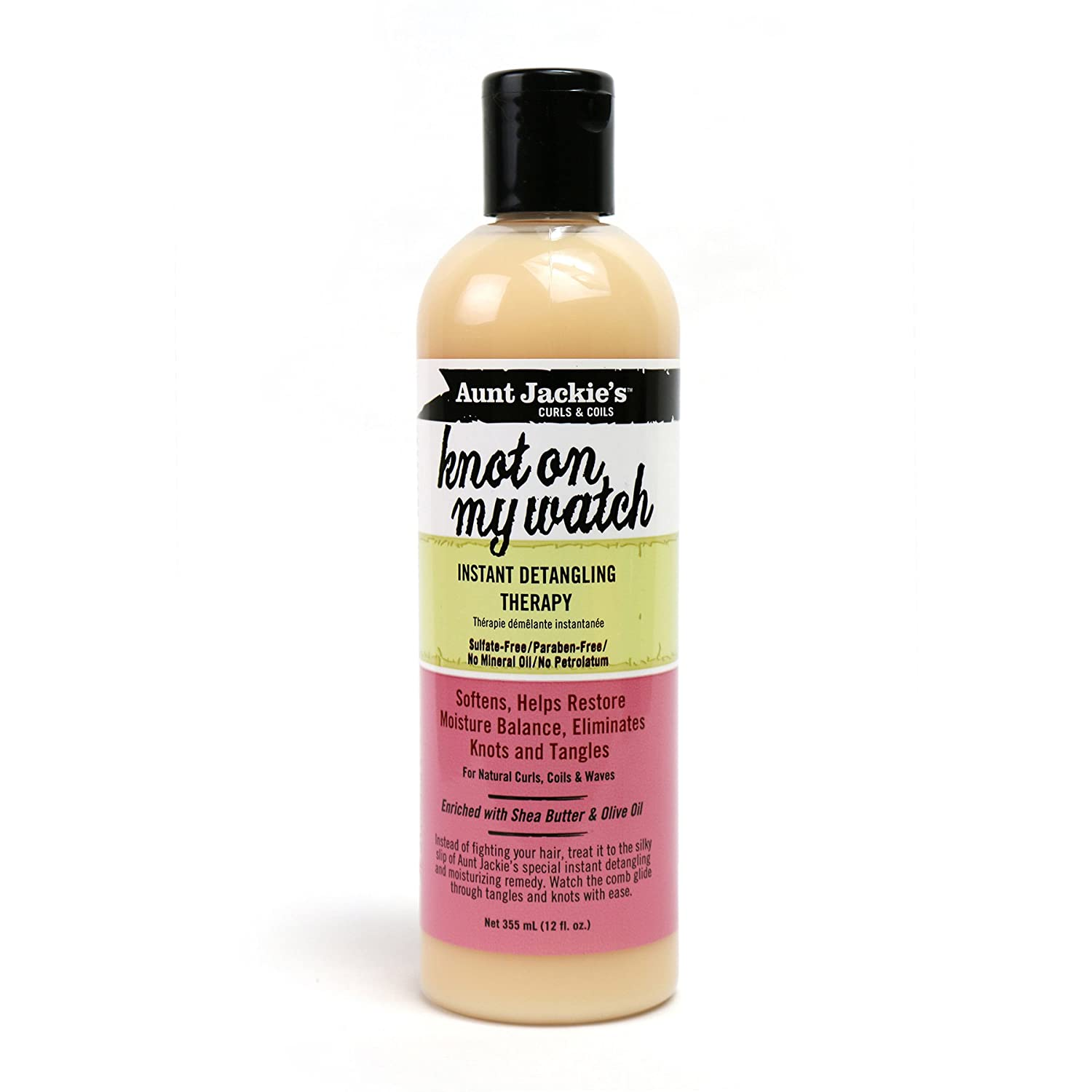 Aunt Jackie's Knot On My Watch, Instant Leave-in Detangling Therapy, Great for Hard to Manage Hair, Enriched with Shea Butter and Olive Oil, 12 Ounce Bottle