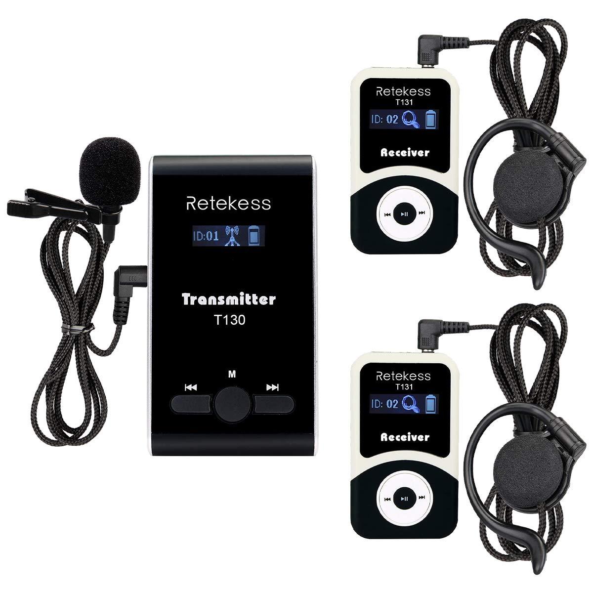 Retekess T130 99 Channel Wireless Tour Guide System Microphone Church Translation System for Interpretation Training Court(1 Transmitter 2 Receivers) by Retekess