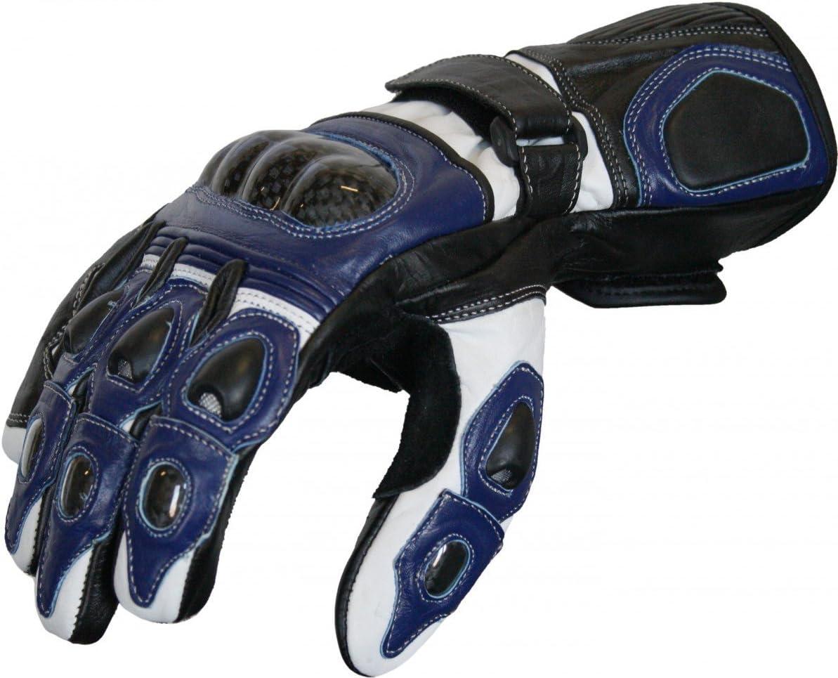 German Wear Motorradhandschuhe Motorrad Biker Handschue Lederhandschuhe In 3x Farben Größe 8 M Farbe Blau Auto