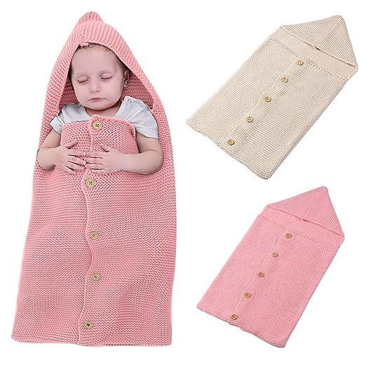 Mochila para bebé, bolsa de dormir de abrigo de punto suave Swaddle con capucha botón de pecho Manta de cuna 15