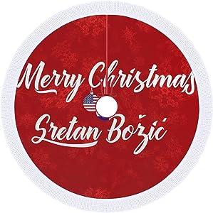 Christmas Tree Skirt, 30''×30'' Bilingual Croatian American Holiday Christmas Tree Skirt Holiday Home Festive Decor Decoration Ornaments
