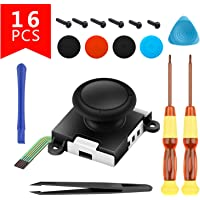Left Right L/R Joystick NS Controller Joystick Replacement 3D Analog Sensor Rocker Stick Tweezer Pry Bar 6 Screws Professional Switch Repair Tool Set(16 in 1)