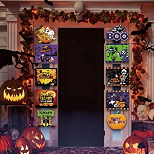 Halloween Decorations Outdoor Indoor Welcome Sign for Front Door Decor Trick or Treat Banner Porch Signs Hanging Flags for Office Home Outdoor Party Decor Supplies