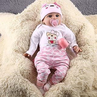 PGIGE 55CM 6PCS / Set Cute Design Bambini Reborn Baby Doll Morbido Vinile Realistico Bambola Appena Nata Ragazza Miglior Regalo di Compleanno per Bambini Ragazze-Rosa-1 Taglia