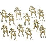 "Elegant Christmas Holiday Shiny Shimmering Glitter Reindeer Ornaments, Gold, Medium, Pack of 12, 5.5"" x 3"""