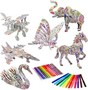 Aukisung 3D Coloring Puzzle Set 6 Pack Arts and Crafts for Kids, Fun Creative DIY Toys for Family Craft Kits and Best Model Builder STEM Crafts for Kids Age 7 8 9 10 11 12 13, for Girls Boys