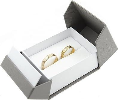 Estuche para anillos de boda de alta calidad; para el compromiso o para San Valentín, color blanco gris, modelo Box 3: Amazon.es: Joyería