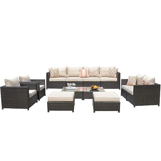 ovios Juego de Muebles de Patio, sofá de Patio y Exterior, 6 ...