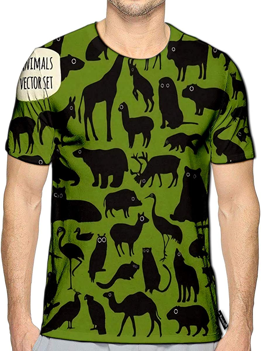 3D Printed T-Shirts Animal Icon Set On Green Short Sleeve Tops Tees