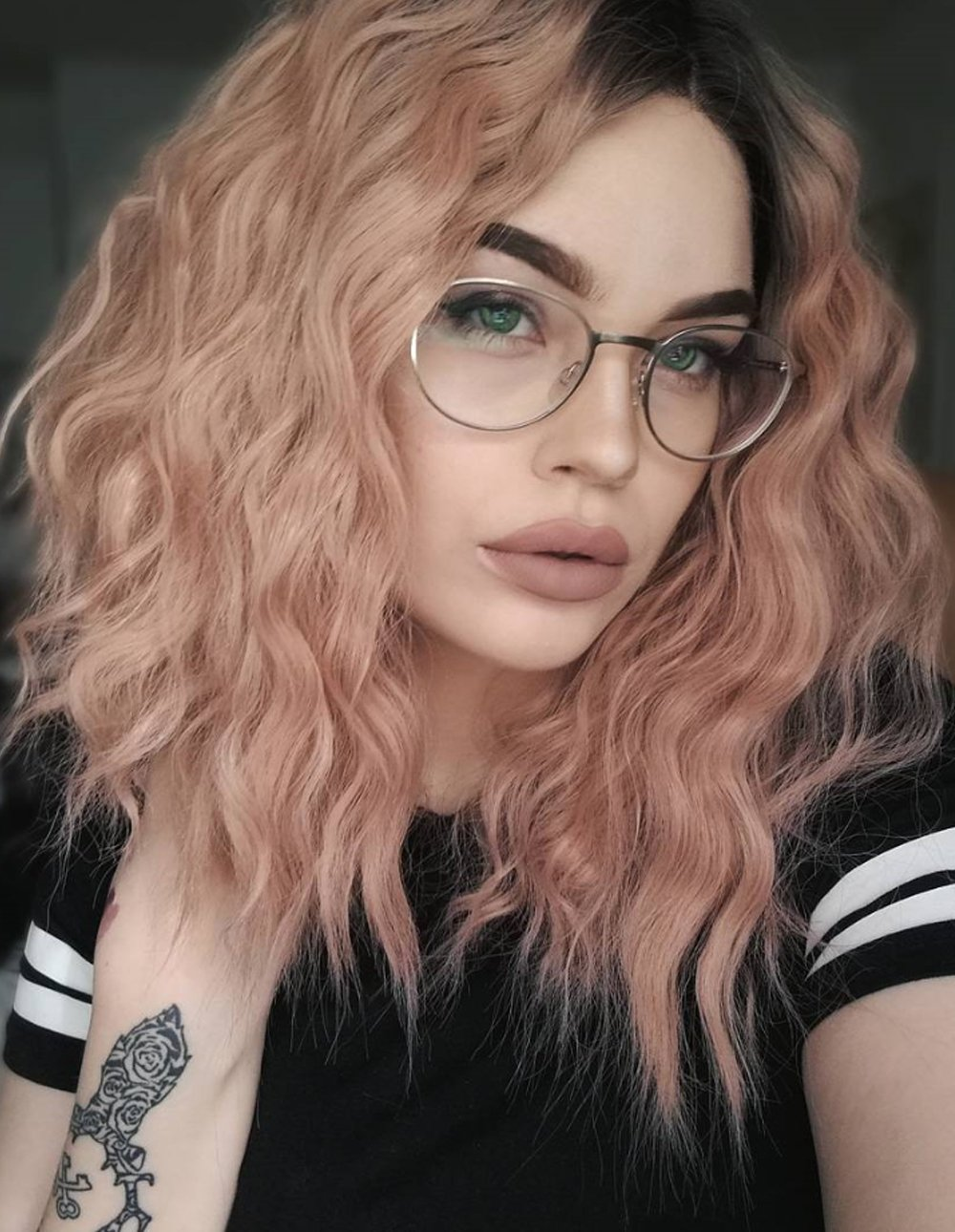 Kâ€ryssma Short Bob Wavy Lace Front Wigs for White Women Ombre Dark Roots to Mixed Pink Glueless Synthetic Hair Wig Heat Resistant Middle Parting
