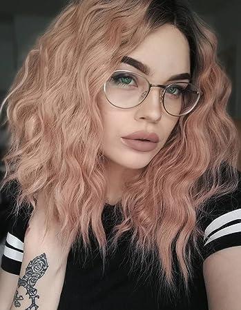 K ryssma Short Bob Wavy Lace Front Wigs for White Women Orange Pink Ombre  Dark 4a8df4b58