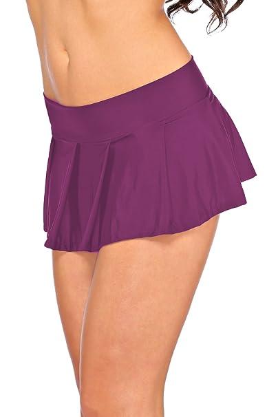 Arunta® Sexy Minirock kurz Schulmädchen Mini Rock Faltenrock Tanz Rock in Schwarz Rot Violett Pink oder Türkis Einheitsgröße