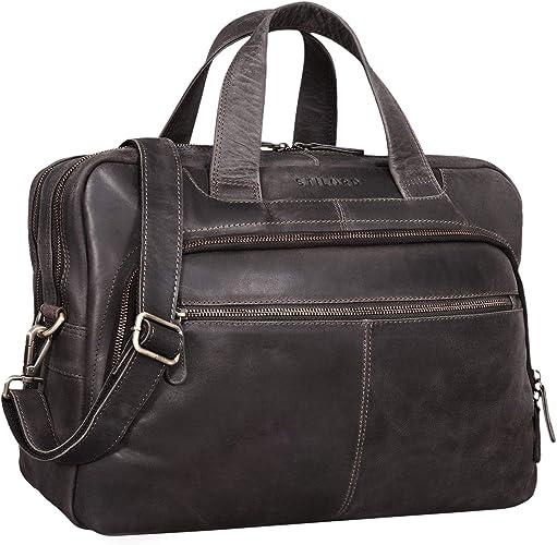 Stilord Lias Umhängetasche Leder Herren Vintage 15 6 Zoll Businesstasche Laptoptasche Groß Arbeit Büro Uni Antik Leder Farbe Dunkel Braun Schuhe Handtaschen