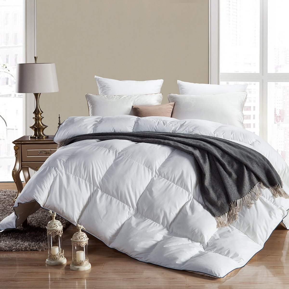WENERSI Premium Goose Down Comforter King Size,Duvet Insert 600TC - 100% Cotton Cover with ULTRA FRESH Treatment, 700+ Fill Power,White Solid