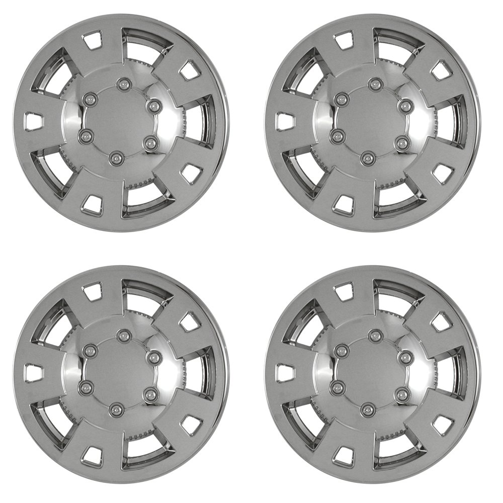 OxGord 15 inch Hubcap Wheel Skins for 2004-2008 Chevrolet Colorado-(Set of 4) Wheel Covers- Car Accessories for 15inch Chrome Wheels- Auto Tire Replacement Exterior Cap Cover by OxGord