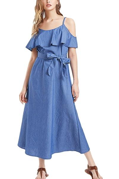 Vestidos Denim Mujer Verano Elegantes Largos Casual Hombro Descubierto Con Volantes Sencillos Color Solido Denim Vestido