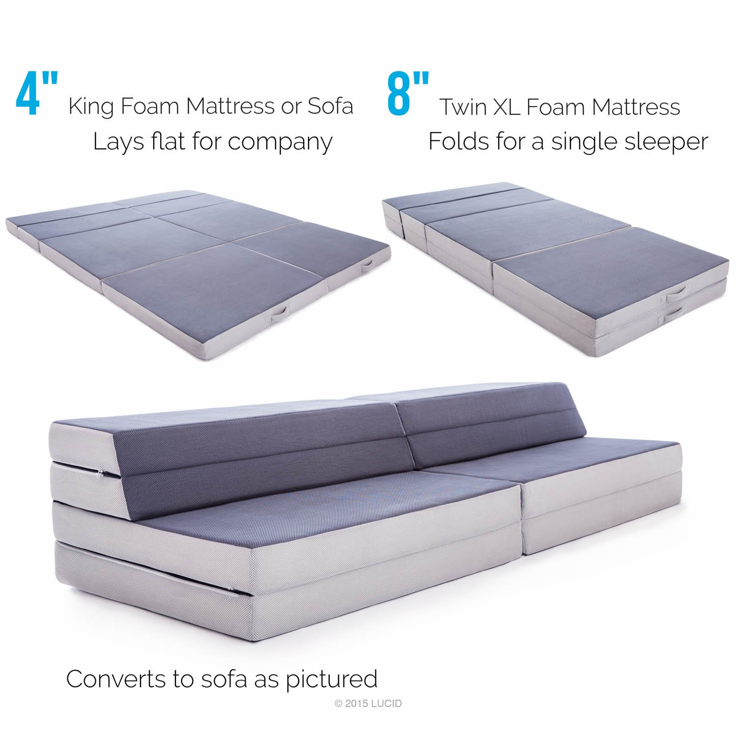 Amazon LUCID King Twin XL Convertible Folding Foam Mattress