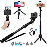 Premium HD RUGGED 4-in-1 Selfie Stick Tripod Stand Kit + Bluetooth Remote – Universal: ANY iPhone, Android, GoPro or Camera – iPhone X 8 7 6 Plus, Samsung S9 etc. | Best Gift Pack