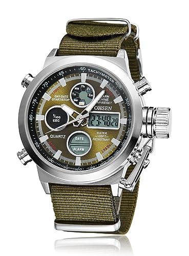 gohuos Hombres del Deporte Militar LED Digital Analógico Dial grande relojes hora Dual alarma cronógrafo multifunción militar muñeca watch-army verde: ...