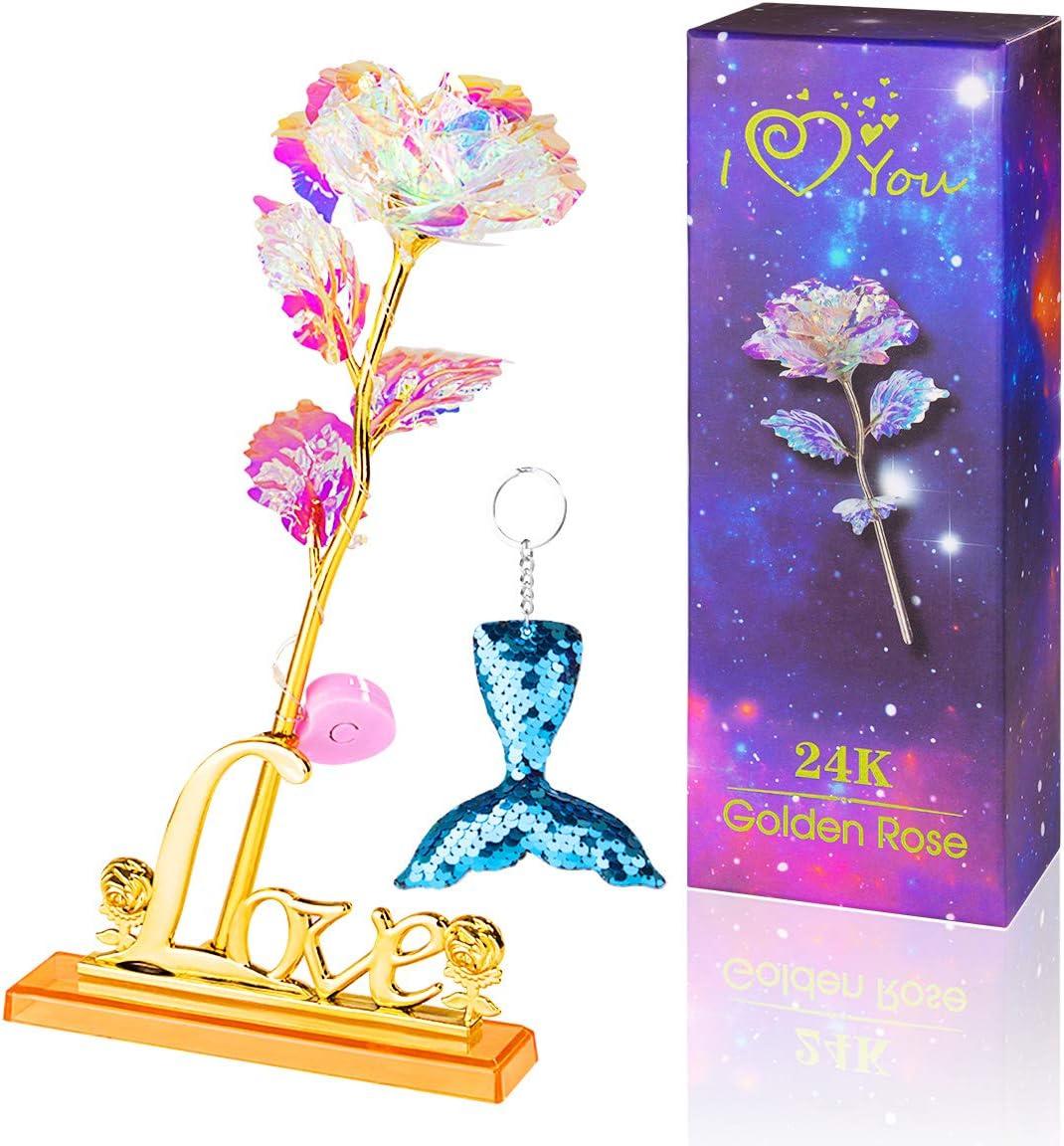ANBET Flor Brillante Rosa Artificial de Papel de Oro de 24 Quilates con luz LED, Soporte Transparente y Caja de Regalo románticos para el día de Valenine, el Día de la Madre, Cumpleaños