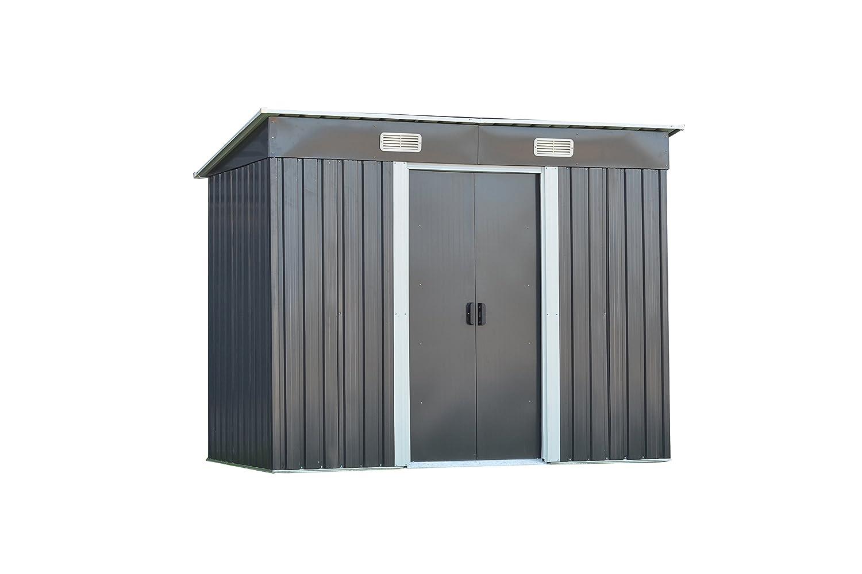 Casa de metal dispositivos 238 (B) X 119 (T) X181 (H) cm Caseta jardín Caseta jardín casa con pupitre techo, negro: Amazon.es: Jardín