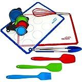 [Set de 11 pièces] Ensemble pâtisserie avec tapis de cuisson en silicone avec 2 grandes plaques de cuisson, spatule, brosse, fouet, tasses à mesurer et pinces. Sans BPA
