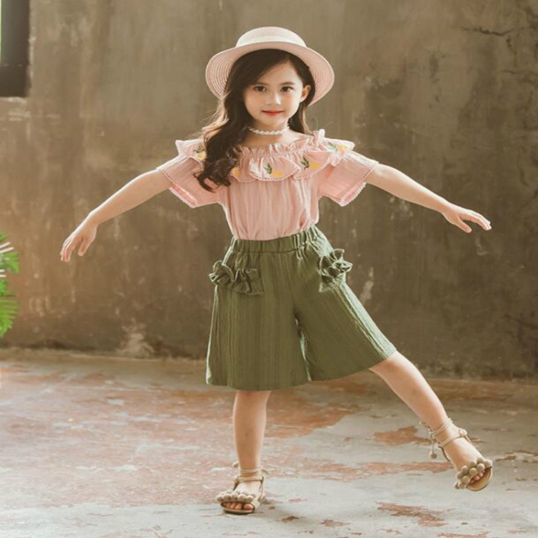 Colygamala Kids Girl Pineapple Linen Short Sleeve 2 Pieces Summer Set