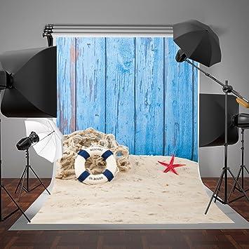 GoHeBe 7x5ft Birthday Backdrop for Photography Blue Cartoon Photography Backdrop for Kids Baby Girls Birthday Photo Background LYZY0215