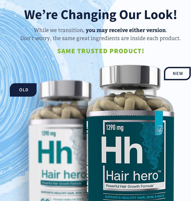 Hair Hero - Powerful Hair Growth Formula - Healthy Hair, Skin, and Nails - 5000 mcg Biotin   Essential Elements - 30 Day Supply: Health & Personal Care