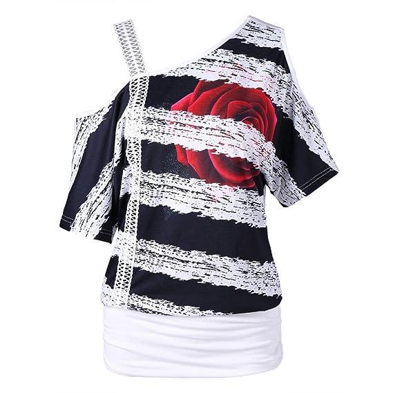 Lenfesh Camiseta de Manga Corta Escote Redondeado sin Tirantes Casual para Mujer de Moda Tops tee