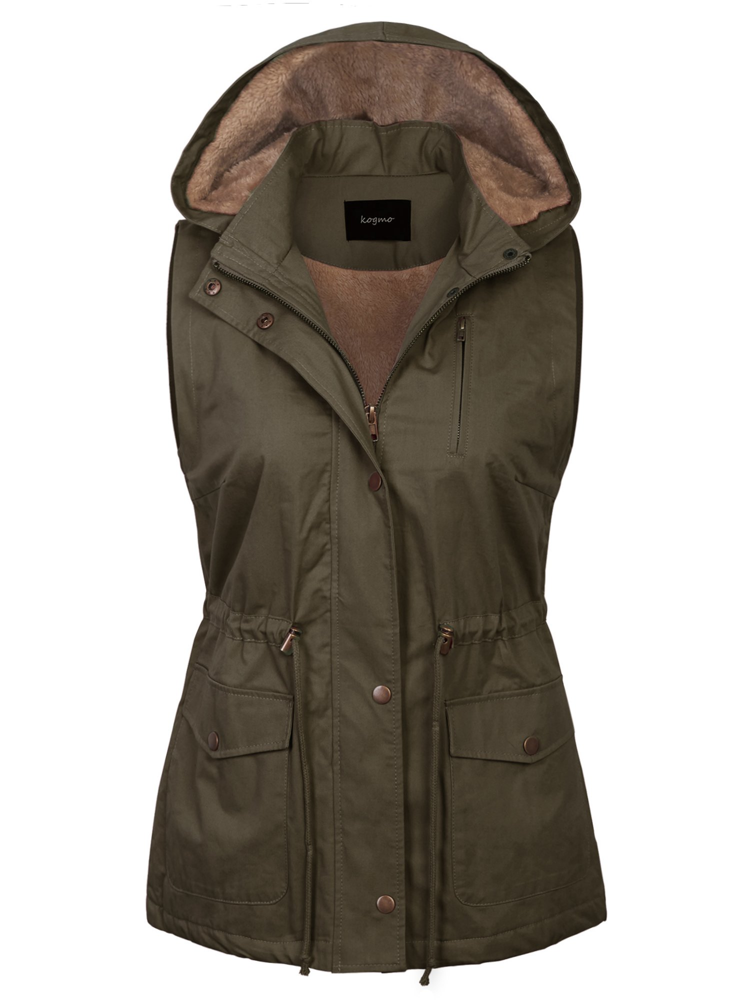 KOGMO Womens Fur Lined Anorak Safari Vest with Detachable Hoodie (S-3X)-S-Olive by KOGMO