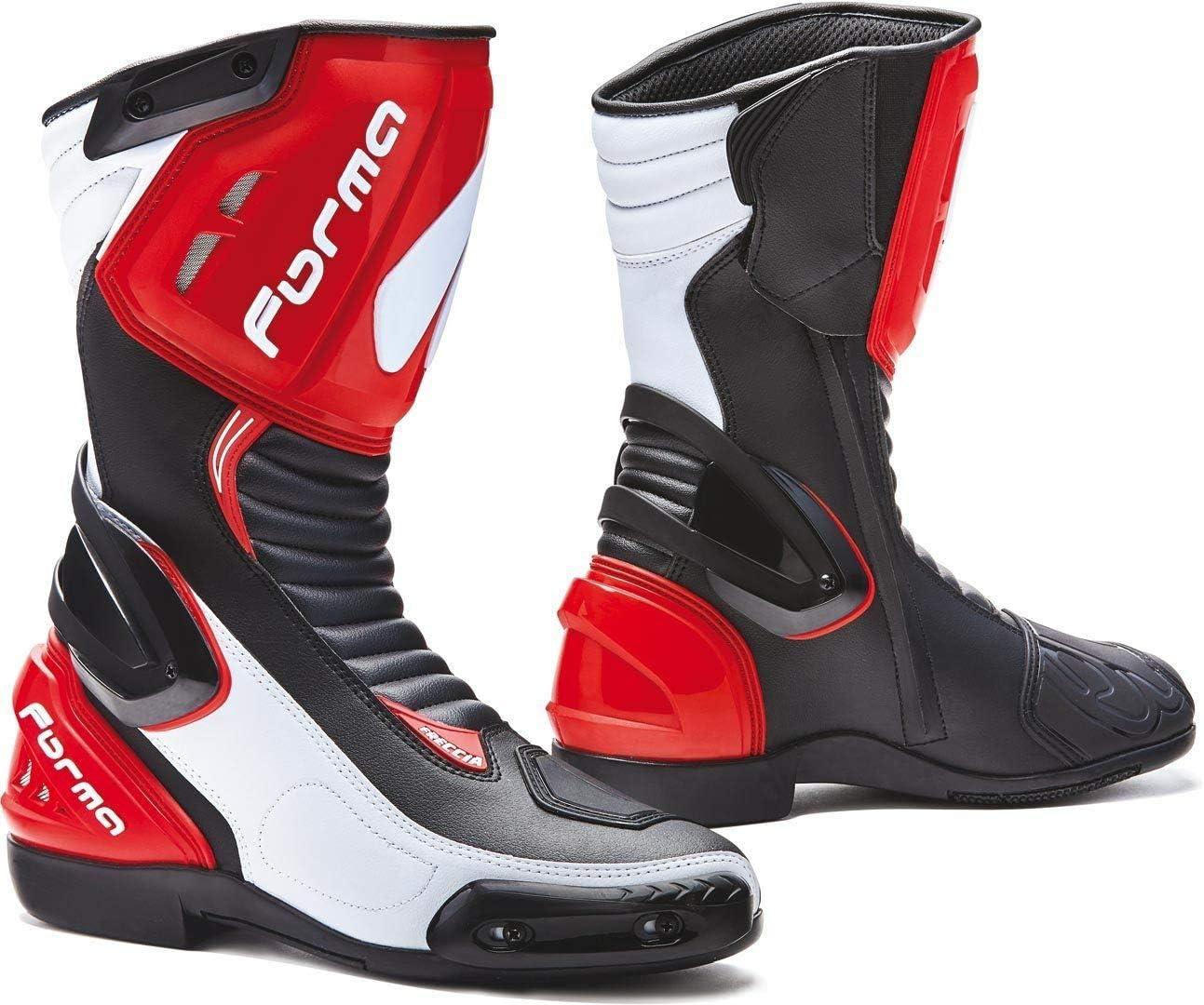 Forma Botas Moto Freccia homologuee CE Negro//Blanco//Rojo T42