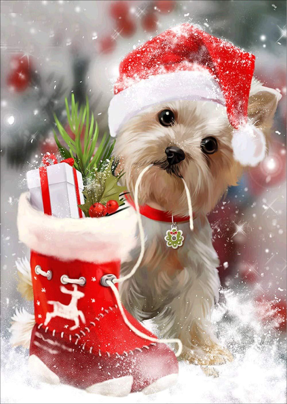 Yalehabi 5D diamond painting Christmas puppy embroidery DIY cross stitch home decoration
