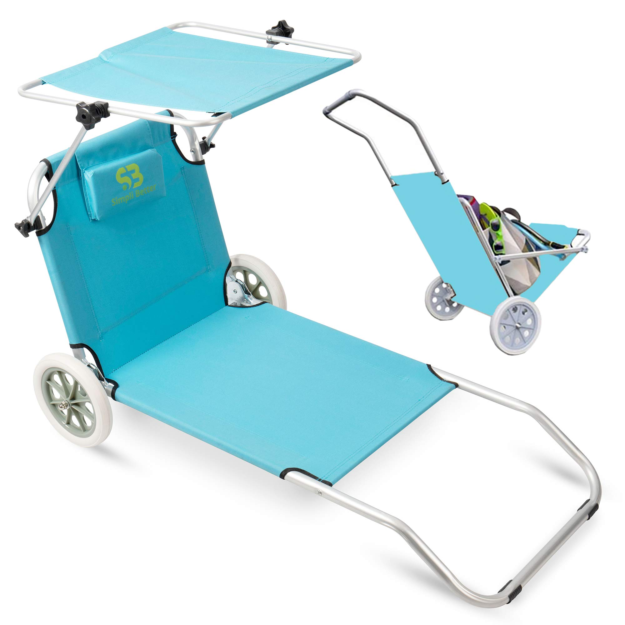 Simpli Better Premium Beach Chairs/Beach Cart with Wheels, Making it Extremely Portable. Able to Be Folded and Built-in Pillow and Sunshade, Perfect for Beaches, Picnics, and Camping.