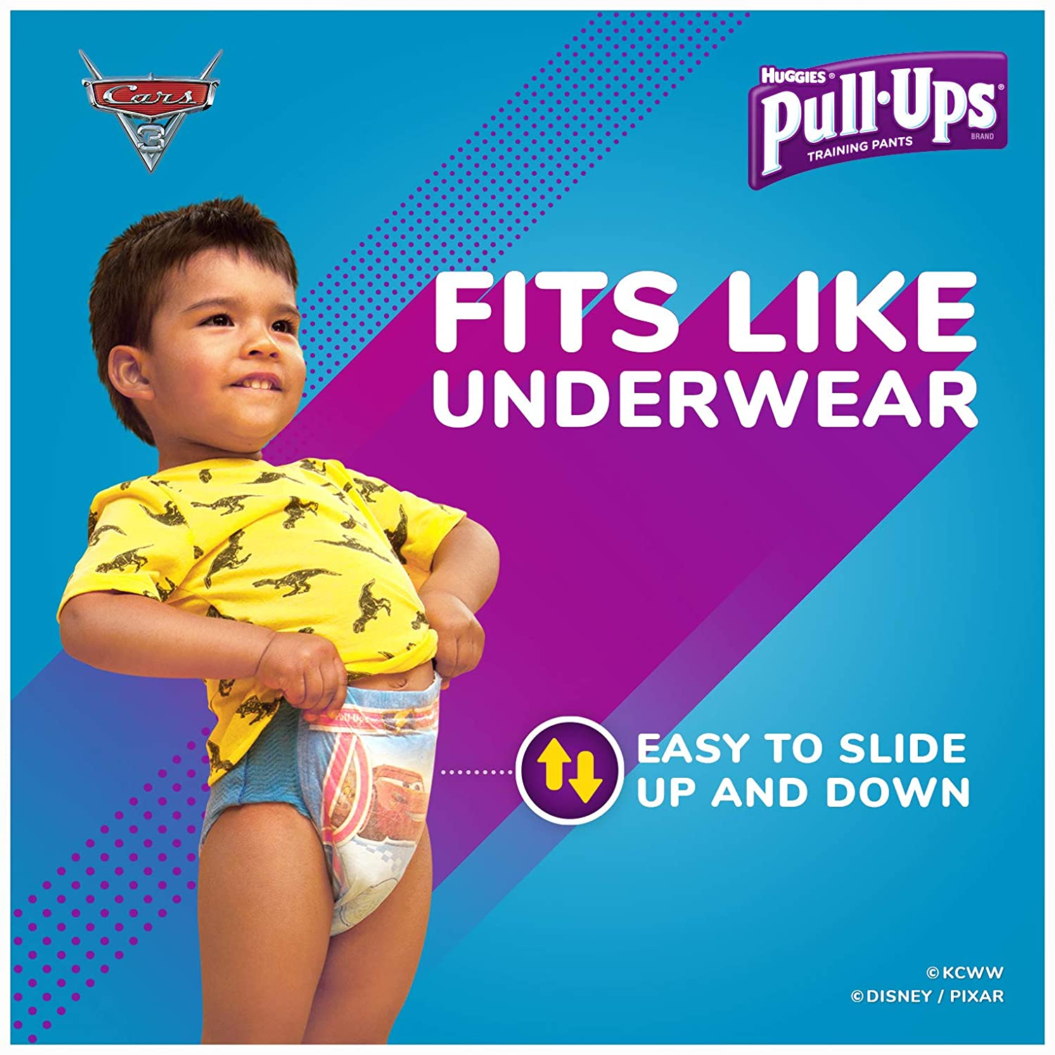 3T-4T 96 Count Pull Ups Easy Open Sides Learning Designs Training Pants for Boys