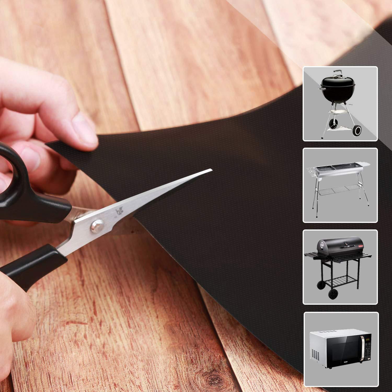 Jeu de 7 R/éutilisable et Facile /à Nettoyer 33 x 40 cm 1 Pince /à Barbecue et Brosse en sSilicone NONNO/&ZGF Paquet de 5 Tapis de Barbecue