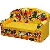 Shree Ganesh Online Boy's and Girl's Cartoon Printing Foam Sofa Seat Comfort (Yellow)