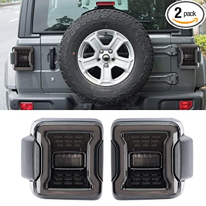 Jeep Wrangler Led Tail Lights >> Amazon Com Sunpie Smoked Led Tail Lights For Jeep Wrangler Jl Jlu