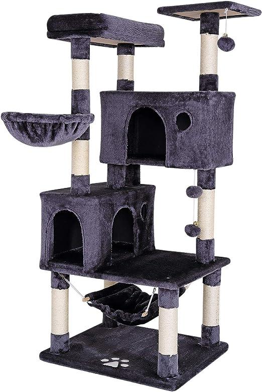 Dibea Árbol rascador Árbol Escalador Árbol rascador Gatos Árbol para Gatos Altura 140 cm Color Gris Oscuro: Amazon.es: Productos para mascotas