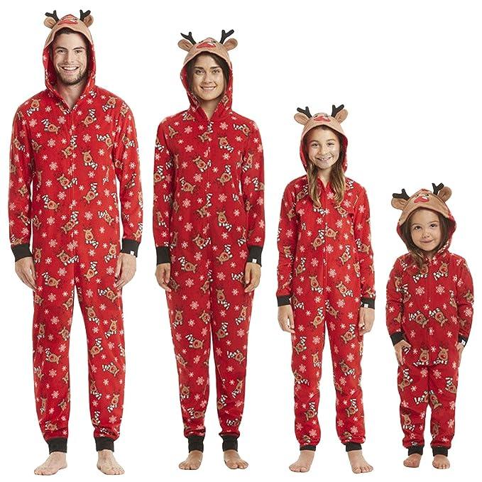 87e6d9704 Pijamas Navidad Familiar Algodon Mono Pijamas Parejas e Hijos Trajes  Navideños Pelele con Cremallera e Capucha