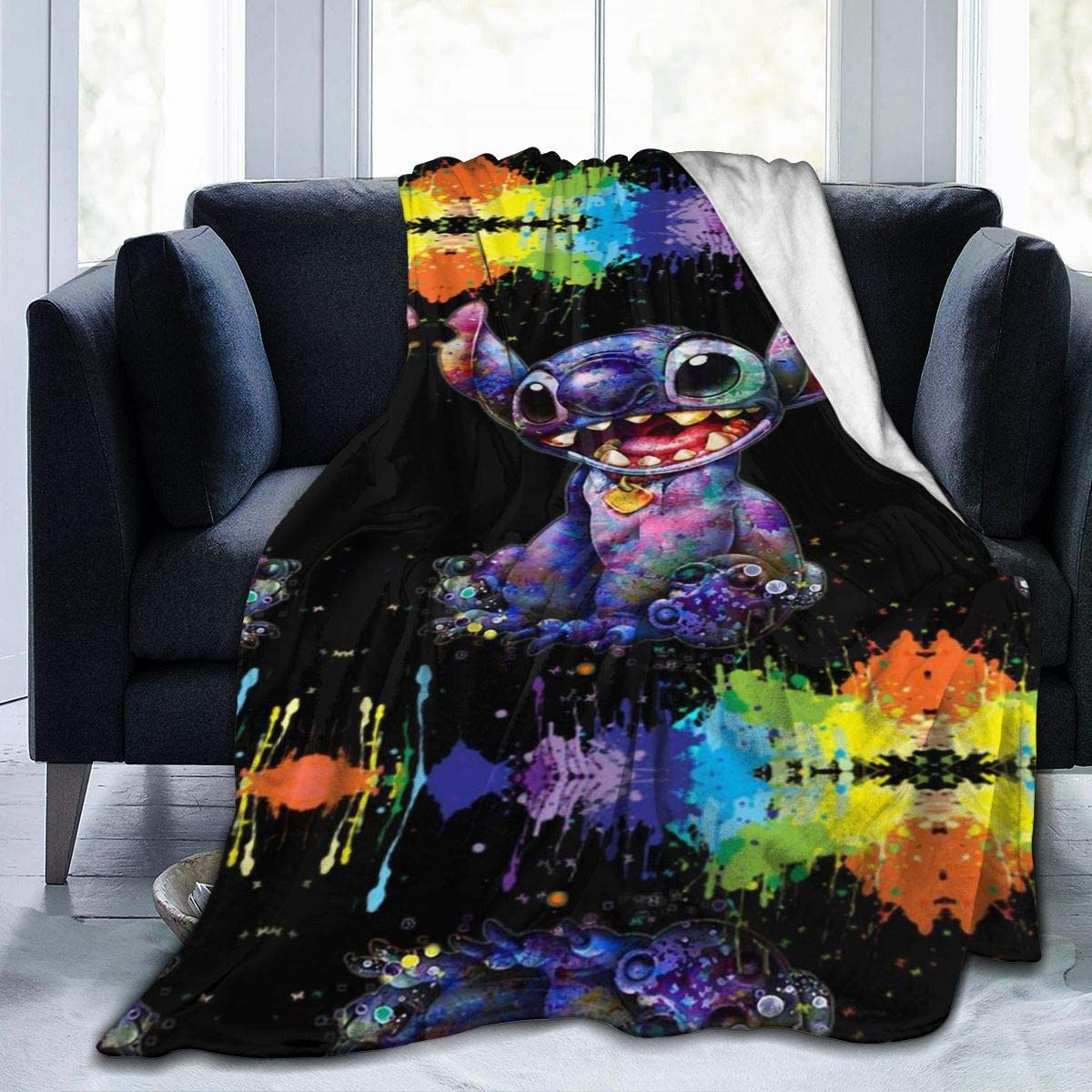 ZMSMILE Tie Dyed Sti-tch Ultra-Soft Micro Fleece Blankets Down Comforters Bedding Sofa Super Cozy Quilt for Kids Gift 60 x50 Black