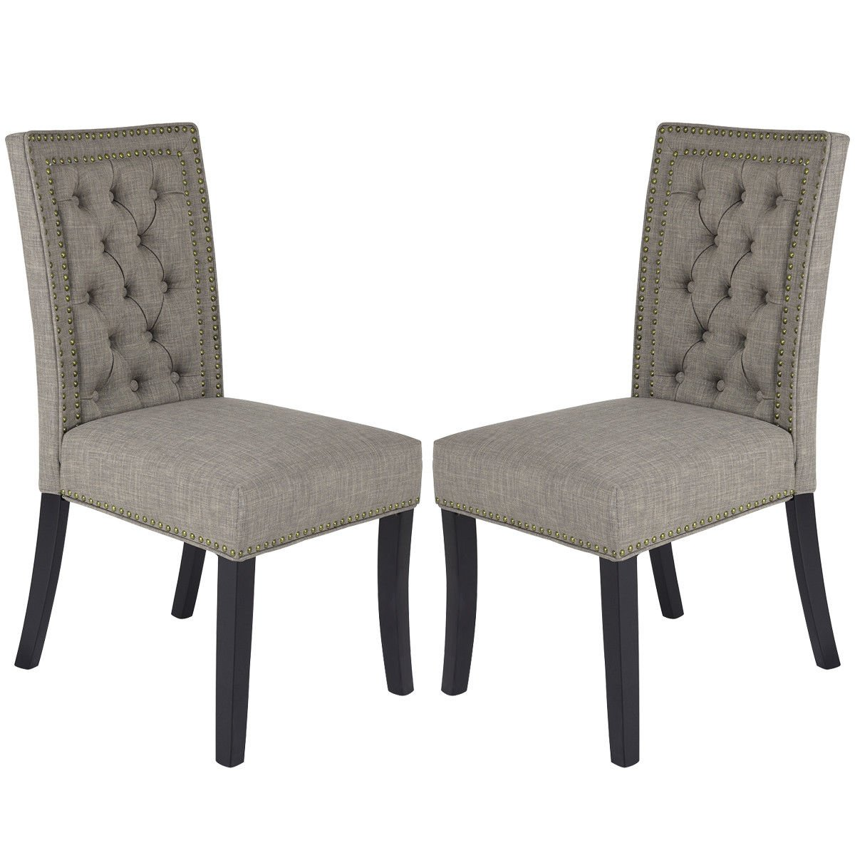 Fabric Dining Chairs with Rubber Wood Legs Home Kitchen Furniture Brown Set of 2