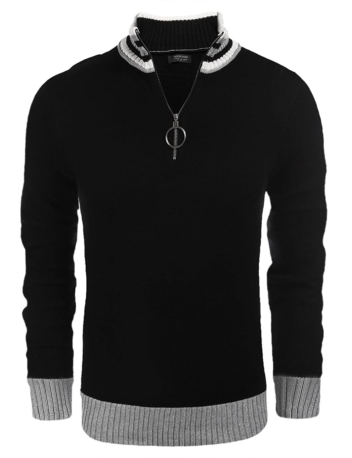 0e1c8b7af COOFANDY Men's Casual Quarter Zip Polo Sweater Slim Fit Long Sleeve  Pullover Sweaters Black: Amazon.ca: Clothing & Accessories