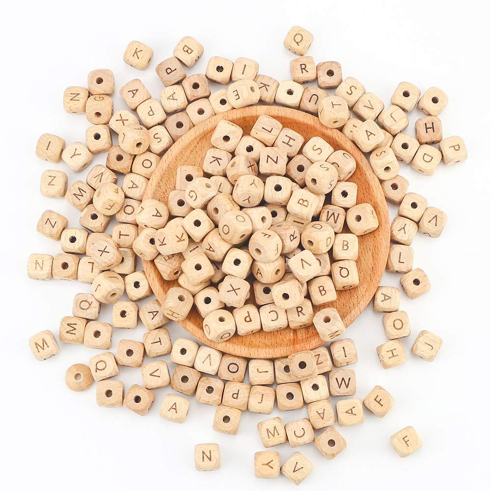 ARTESTAR 100 St/ück 12x12mm Holz Perle Buchstaben DIY Schnuller Kette Still Halskette Holz Alphabet Zahnen Perlen f/ür Jungen und M/ädchen