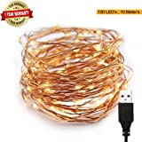 XERGY 10 M,100 LED's(3 Copper Wires, Durable Quality) Waterproof Fairy Decorative String Warm WhiteLight - 2 M USB Powered - Christmas Tree Decoration Lights Home DIY Decoration Festival Rice Light